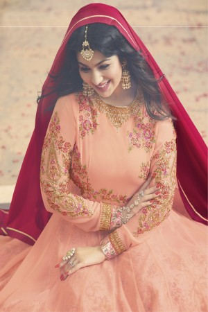 Ayesha Takia Peach Georgette Heavy Embroidery Zari, Thread & Diamond Work  Salwar Kameez