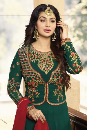 Ayesha Takia Dark Green Georgette Heavy Embroidery Zari, Thread & Diamond Work  Salwar Kameez