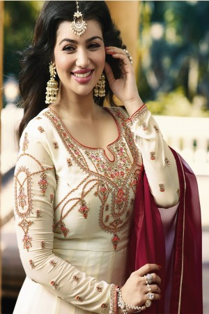 Ayesha Takia White Georgette Heavy Embroidery Zari, Thread & Diamond Work  Salwar Kameez