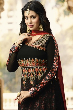 Ayesha Takia Black Georgette Heavy Embroidery Zari, Thread & Diamond Work  Salwar Kameez