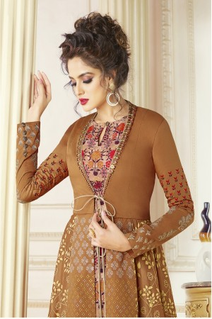 Awesome Light Brown Cotton blend Digital Print Kurti
