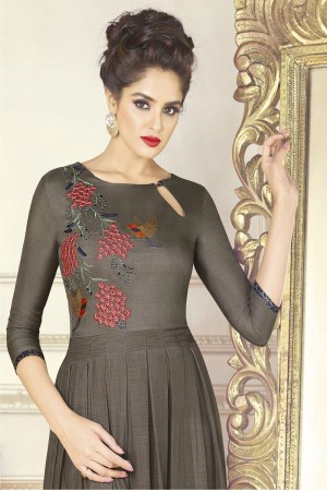 Eye catching Grey Soft Silk Print with Embroidery Work Kurti