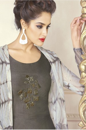 Dynamic Grey Chanderi Digital Print Digital Print with Patch Work Kurti