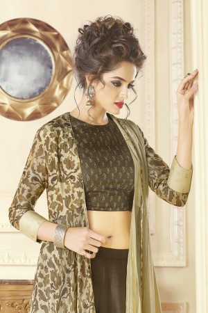 Outstanding Brown & Cream Cotton blend Digital Print Kurti