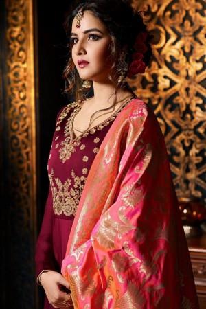 Jasmin Bhasin Maroon Satin Georgette Heavy Embridery Zari Work on Neck & Sleeve  Salwar Kameez