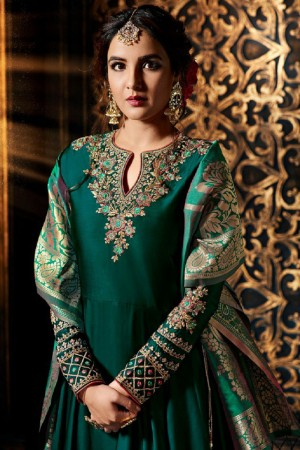 Jasmin Bhasin Dark Green Satin Georgette Heavy Embridery Zari Work on Neck & Sleeve  Salwar Kameez
