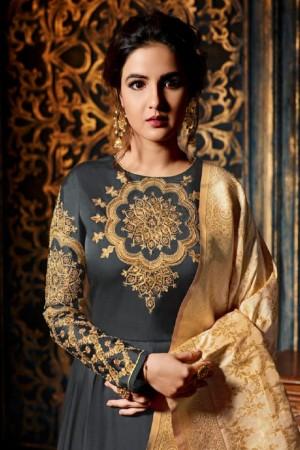 Jasmin Bhasin Grey Satin Georgette Heavy Embridery Zari Work on Neck & Sleeve  Salwar Kameez
