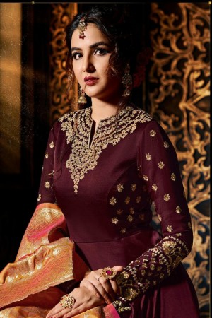 Jasmin Bhasin Wine Satin Georgette Heavy Embridery Zari Work on Neck & Sleeve  Salwar Kameez