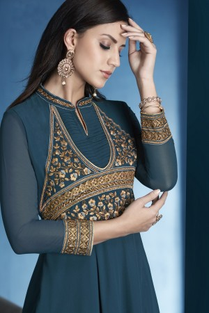 Charming Aqua Lichi Georgette Heavy Embridery Zari and Thread Work Salwar Kameez