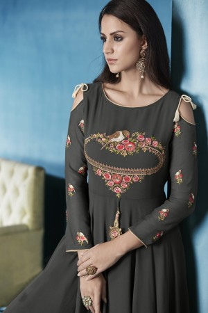 Tremendous Grey Lichi Georgette Heavy Embridery Zari and Thread Work Salwar Kameez
