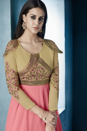 Elegant Pink&Cream Lichi Georgette Heavy Embridery Zari and Thread Work Salwar Kameez