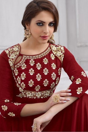 Luscious Red Taffeta Silk Heavy Embridery Zari and Thread Work on Neck & Sleeve Anarkali Salwar Suit