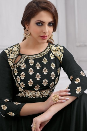 Angellic Black Taffeta Silk Heavy Embridery Zari and Thread Work on Neck & Sleeve Anarkali Salwar Suit