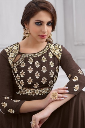 Ethnic Brown Taffeta Silk Heavy Embridery Zari and Thread Work on Neck & Sleeve Anarkali Salwar Suit