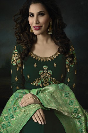 Sophie Choudry Dark Green Georgette Heavy Embridery Zari Work on Neck & Sleeve with Lace Border Salwar Kameez