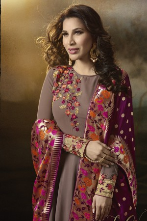 Sophie Choudry Chocolate Georgette Heavy Embridery Zari Work on Neck & Sleeve with Lace Border Salwar Kameez