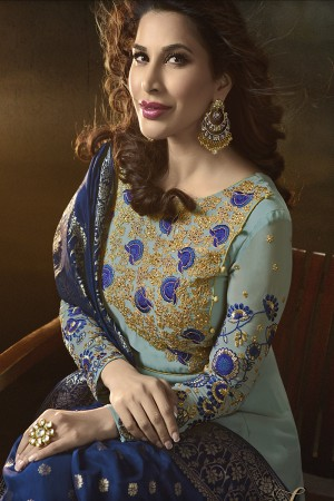 Sophie Choudry Sky Blue Georgette Heavy Embridery Zari Work on Neck & Sleeve with Lace Border Salwar Kameez