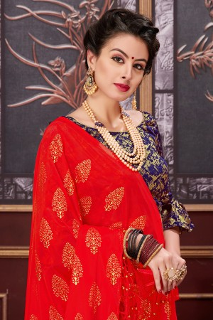 Creative Red Two Tone Net Rubber Print Saree