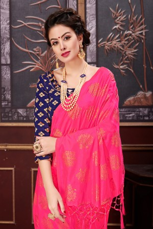 Amazing Pink Two Tone Silk Rubber Print Saree