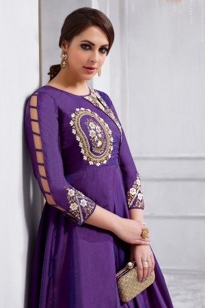 Stupendous Wine Tafetta Silk Heavy Embroidery on Neck and Sleeve  Anarkali Salwar Kameez