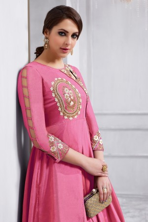 Mind Blowing Pink Tafetta Silk Heavy Embroidery on Neck and Sleeve  Anarkali Salwar Kameez