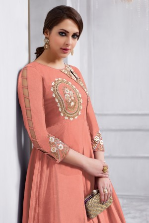 Blissful Orange Tafetta Silk Heavy Embroidery on Neck and Sleeve  Anarkali Salwar Kameez