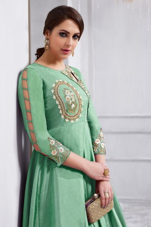Sparkling Pista Green Tafetta Silk Heavy Embroidery on Neck and Sleeve  Anarkali Salwar Kameez