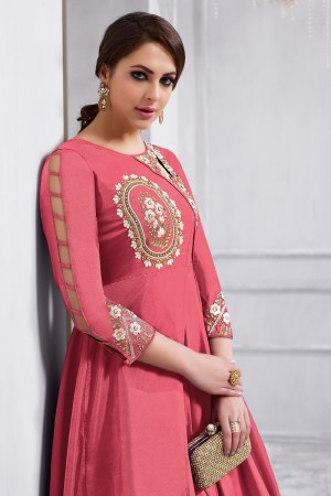 Charismatic Peach Tafetta Silk Heavy Embroidery on Neck and Sleeve  Anarkali Salwar Kameez