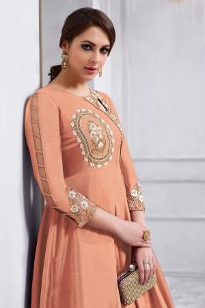 Vibrant Saloman Tafetta Silk Heavy Embroidery on Neck and Sleeve  Anarkali Salwar Kameez