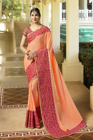 Stylish Orange Fancy Fabric Plain Saree with embroidery Lace Border Saree