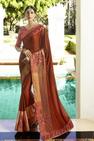 Picturesque Brown Fancy Fabric Plain Saree with embroidery Lace Border Saree