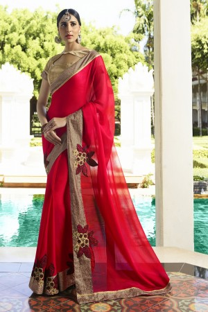 Refreshing Red Fancy Fabric Plain Saree with embroidery Lace Border Saree