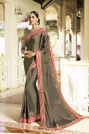 Royal Dark mehendi Fancy Fabric Plain Saree with embroidery Lace Border Saree