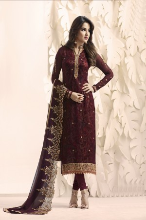 Jasmin Bhasin Dark Maroon Georgette Heavy Embroidery on Neck and Sleeve with Embroidery Dupatta  Salwar Kameez