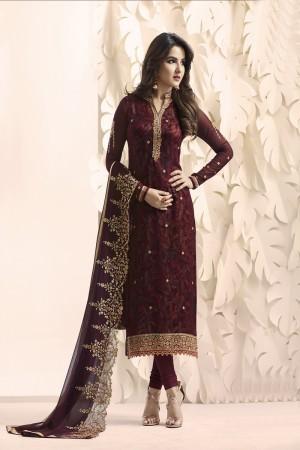 Jasmin Bhasin Dark Maroon Georgette Heavy Embroidery on Neck and Sleeve with Embroidery Dupatta  Salwar Kameez