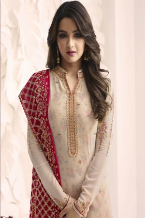 Jasmin Bhasin Cream Georgette Heavy Embroidery on Neck and Sleeve with Embroidery Dupatta  Salwar Kameez