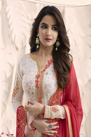 Jasmin Bhasin White Georgette Heavy Embroidery on Neck and Sleeve with Embroidery Dupatta  Salwar Kameez