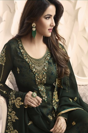 Jasmin Bhasin Dark Green Georgette Heavy Embroidery on Neck and Sleeve with Embroidery Dupatta  Salwar Kameez