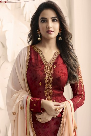 Jasmin Bhasin Red Georgette Heavy Embroidery on Neck and Sleeve with Embroidery Dupatta  Salwar Kameez