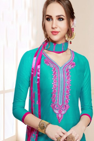 Vibrant Rama Green Jam Cotton Heavy Embroidery on Neck with Embroidery Bottom Dress Material