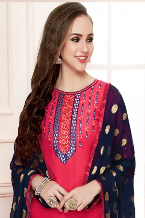 Pleasant Dark Pink Jam Cotton Heavy Embroidery on Neck with Embroidery Bottom Dress Material