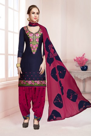 Rust Dark Pink Jam Cotton Heavy Embroidery on Neck with Embroidery Bottom Dress Material