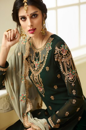 Stupendous Dark Green Georgette Heavy Embroidery on Neck and Sleeve with Embroidery Dupatta  Salwar Kameez