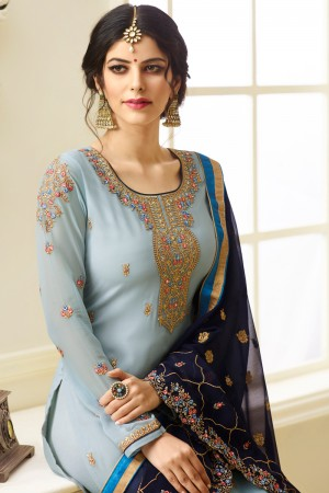 Mind Blowing Sky Blue Georgette Heavy Embroidery on Neck and Sleeve with Embroidery Dupatta  Salwar Kameez