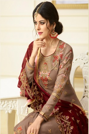 Blissful Chocolate Georgette Heavy Embroidery on Neck and Sleeve with Embroidery Dupatta  Salwar Kameez