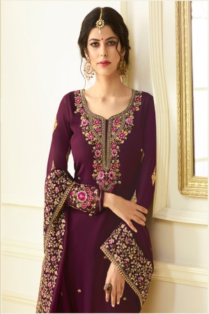 Charismatic Wine Georgette Heavy Embroidery on Neck and Sleeve with Embroidery Dupatta  Salwar Kameez