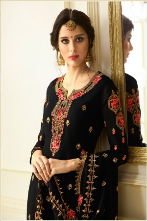 Vibrant Black Georgette Heavy Embroidery on Neck and Sleeve with Embroidery Dupatta  Salwar Kameez