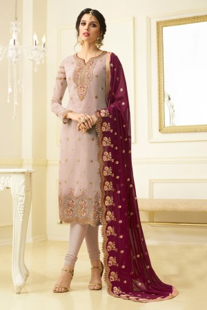 Marvelous Light Pink Georgette Heavy Embroidery on Neck and Sleeve with Embroidery Dupatta  Salwar Kameez
