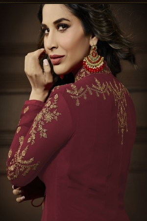 Sophie Choudry Chiku&Maroon Georgette Heavy Embroidery Zari Work with Jacket Semi Stitch Salwar Kameez