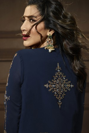Sophie Choudry Aqua&Blue Georgette Heavy Embroidery Zari Work with Jacket Semi Stitch Salwar Kameez